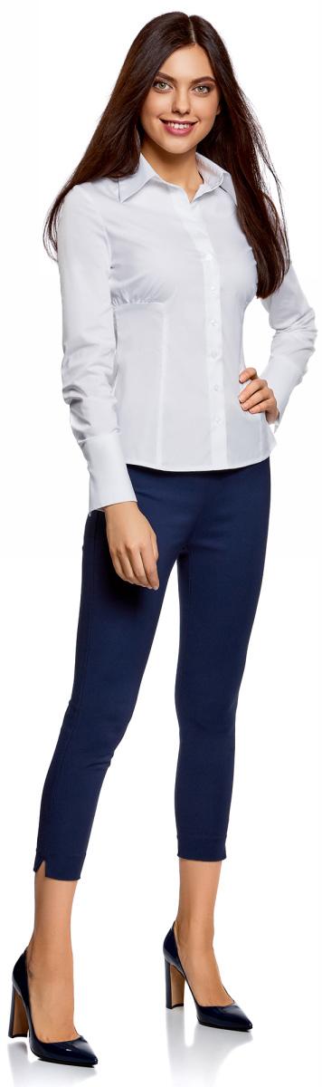 Рубашка женская oodji Ultra, цвет: белый. 11401065-1/14885/1000N. Размер 36-170 (42-170)11401065-1/14885/1000NРубашка женская oodji Ultra выполнена из хлопка с добавлением эластана. Модель с длинными рукавами и отложным воротником застегивается на пуговицы.