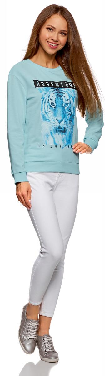 Свитшот женский oodji Ultra, цвет: голубой, голубой. 14808015-2/46151/7070P. Размер M (46)14808015-2/46151/7070P