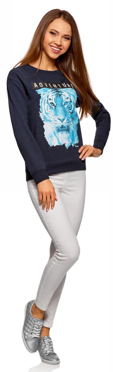 Свитшот женский oodji Ultra, цвет: темно-синий, голубой. 14808015-2/46151/7970P. Размер XL (50)14808015-2/46151/7970P