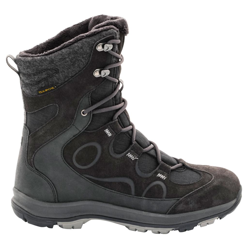 Ботинки трекинговые женские Jack Wolfskin Thunder Bay Texapore High W, цвет: темно-серый. 4020521-6350. Размер 6,5 (39)4020521-6350Водонепроницаемые зимние ботинки Jack Wolfskin до середины икры с особо теплой флисовой подкладкой. Благодаря подкладке из флиса Nanuk Ultra вашим ногам будет тепло при температуре до -30 °C, а высокие голенища дополнительно защищают от дождя, снега и холода. Мембранный материал Texapore не дает влаге просочиться внутрь. Подъем оформлен классической шнуровкой, которая надежно фиксирует обувь на ноге и регулирует объем. Язычок, препятствующий попаданию снега и грязи внутрь, задник, мысок и промежуточная подошва декорированы символикой бренда. Также задник дополнен ярлычком для более удобного надевания обуви. Крепкая нескользящая подошва Wolf Snow обеспечивает надежное сцепление и на обледеневших тротуарах, и на тропинках в зимнем лесу. В таких ботинках вы будете чувствовать себя удобно и комфортно.