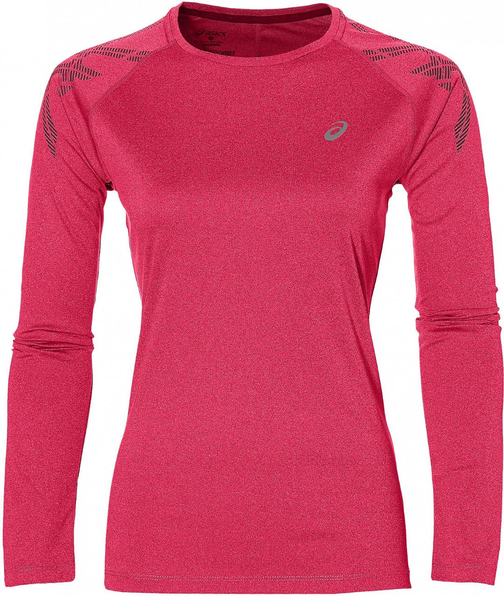 Футболка для бега женская Asics Asics Stripe LS Top, цвет: розовый. 146603-0699. Размер L (48/50)146603-0699Футболка Asics предназначена специально для бега. Эта легкая беговая футболка обеспечит вам безупречный комфорт и достижение высоких спортивных результатов благодаря мягкой, эластичной ткани, которая отводит влагу и поддерживает тело сухим. Плоские швы не натирают кожу и обеспечивают полный комфорт. Фасон рукавов-реглан элегантен и создает свободу движений. Футболка декорирована логотипом. Максимальный комфорт и уникальный спортивный образ!