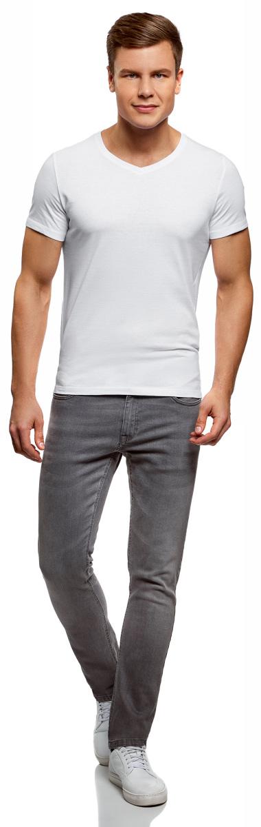 Футболка мужская oodji Basic, цвет: белый, 2 шт. 5B612001T2/44135N/1000N. Размер S (46/48)5B612001T2/44135N/1000NКомфортная мужская футболка от oodji с короткими рукавами и V-образным вырезом горловины выполнена из натурального хлопка. В комплекте 2 футболки.