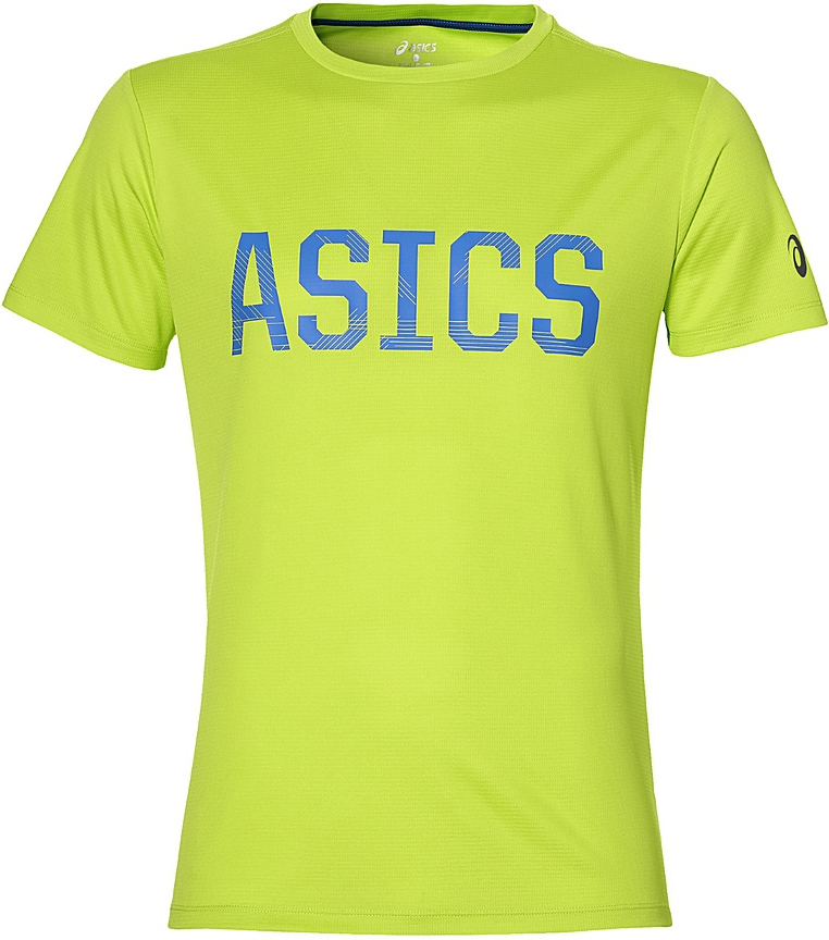 Футболка для фитнеса мужская Asics SS Graphic Tee, цвет: зеленый. 142879-0432. Размер XL (54)142879-0432Спортивная мужская футболка Asics Ss Graphic Tee, выполненная из высококачественного полиэстера, обладает высокой воздухопроницаемостью, а также превосходно отводит влагу от тела, оставляя кожу сухой даже во время интенсивных тренировок. Такая футболка великолепно подойдет как для повседневной носки, так и для спортивных занятий. Модель с короткими рукавами и круглым вырезом горловины оформлена крупным принтом с логотипом бренда на груди.