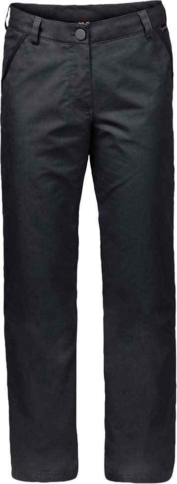 Брюки утепленные жен Jack Wolfskin Arctic Road Pants W, цвет: темно-серый. 1503501-6350. Размер 36 (44/46)1503501-6350Прочные ветро- и водонепроницаемые брюки с теплой подкладкой. Чтобы оценить по достоинству брюки ARCTIC ROAD PANTS (АРКТИК РОУД ПЭНТС), совсем не обязательно ехать в Арктику. Они отлично согреют вас и на прогулке по зимнему парку.Брюки сшиты из прочной проверенной временем ткани FUNCTION 65 (ФАНКШН 65) - практичного гибридного материала из смеси органического хлопка и прочных синтетических волокон. Ткань эффективно защищает от ветра, а кратковременные ливни ей совсем не помеха. А мягкая теплая подкладка из микрофибры не позволит вам замерзнуть.Два кармана на бедрах и два задних кармана смогут вместить деньги, ключи и другие важные вещи, которые лучше держать под рукой.