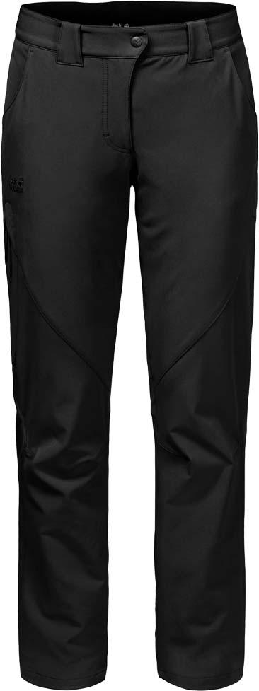 Брюки утепленные женские Jack Wolfskin Chilly Track Xt Pants W, цвет: черный. 1502371-6000. Размер 36 (44/46)1502371-6000Эластичные ветро-и водонепроницаемые брюки Jack Wolfskin Chilly Track Xt Pants изготовлены из софтшелла с теплой подкладкой из микрофлиса. Модель прямого кроя стандартной посадки на талии имеет застежку-молнию в ширинке и пуговицу на поясе. Имеются шлевки для ремня. Изделие дополнено двумя втачными карманами спереди, двумя прорезными - сзади и накладным карманом на застежке молнии на брючине сбоку. Нет ничего лучше морозной погоды и свежего воздуха. С теплом и практичностью, которые дарят брюки Chilly Track Xt Pants , вы сможете наслаждаться зимним пейзажем столько, сколько захотите. Эти удобные брюки рассчитаны для активного зимнего отдыха. Они сшиты из эластичного материала софтшелл Flex Shield, который и делает их такими комфортными. Ткань также прекрасно дышит и обладает водо- и ветронепроницаемыми свойствами. Внутри есть теплая подкладка из микрофлиса. Она позволяет не бояться внезапных похолоданий. Практичные брюки Chilly Track подходят для широкого спектра зимней погоды и видов активного отдыха, начиная от простых прогулок пешком до лыжных кроссов.