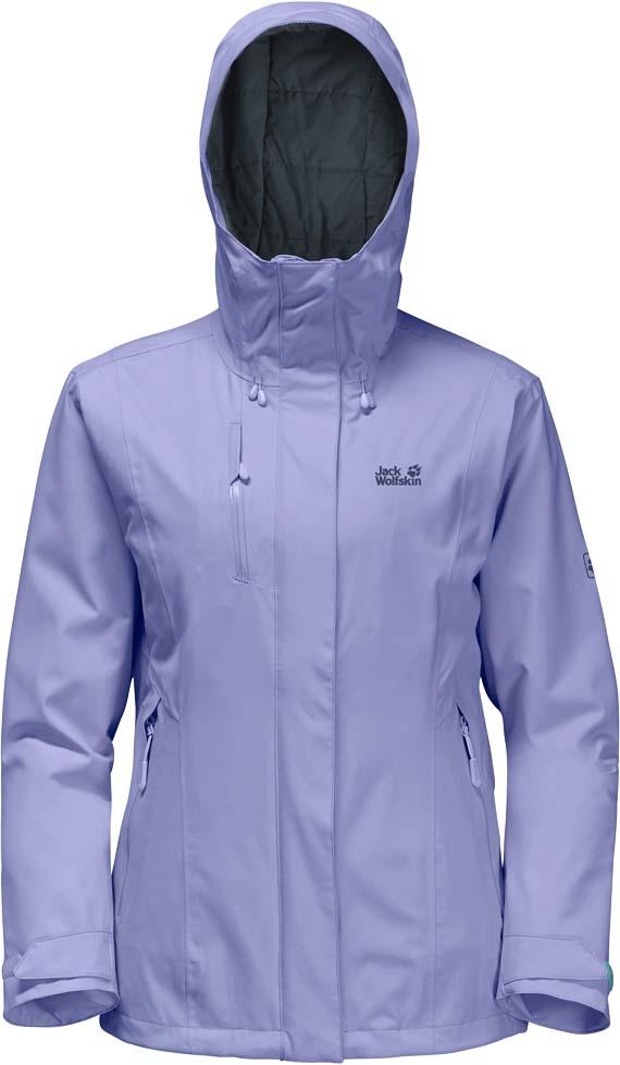 Куртка женская Jack Wolfskin Troposphere W, цвет: сиреневый. 1107851-1133. Размер XL (52/54)1107851-1133Зимняя куртка для хайкинга Jack Wolfskin Troposphere, разработанная специально для зимних забав в снежных условиях и в ледяную стужу, сочетает в себе безграничную свободу движения и отличную теплоизоляцию. Модель полуприталенного кроя с высоким воротником-стойкой, надежно защищающим от ветра, застегивается на молнию с ветрозащитной планкой на кнопках и дополнена вшитым капюшоном с защитным козырьком и возможностью регулировать внутренний объем и область обзора. Изделие имеет два кармана на бедрах, нагрудный карман, внутренний карман, вентиляционные молнии в подмышечной области, дополнительные манжеты и канал для провода наушников. Под эластичной наружной тканью находится утеплитель Downfiber - продуманная смесь пуха с водоотталкивающей обработкой и синтетических волокон. Этот функциональный утеплитель очень эффективный, легкий и нечувствительный к влаге, что делает его идеальным для активного использования на открытом воздухе в зимних условиях. Преимуществом куртки также является экстра дышащая технология Texapore O2+, обеспечивающая защиту от непогоды. Эта версия Texapore ветро- и водонепроницаема, слегка эластична и обеспечивает отличный комфорт в ношении. Если вам требуется усилить вентиляцию, просто расстегните молнии в подмышечных областях.- Материал верха: Texapore O2+ Stretch 2L: эластичная, совершенно водо- и ветронепроницаемая, невероятно дышащая наружная ткань (водостойкость в мм водяного столба: 20 000, паропроницаемость (MVTR): > 15 000 г/м?/24 ч). - Утеплитель 1: Downfiber 700 cuin: утеплитель состоит из 70% утиного пуха с водоотталкивающей обработкой и 30% невероятно теплых, быстросохнущих и легких в уходе синтетических волокон с высоким ворсом (упругость 700 cuin); сертифицировано RDS. - Утеплитель 2: Microguard (120 г/м?): эффективный синтетический утеплитель.