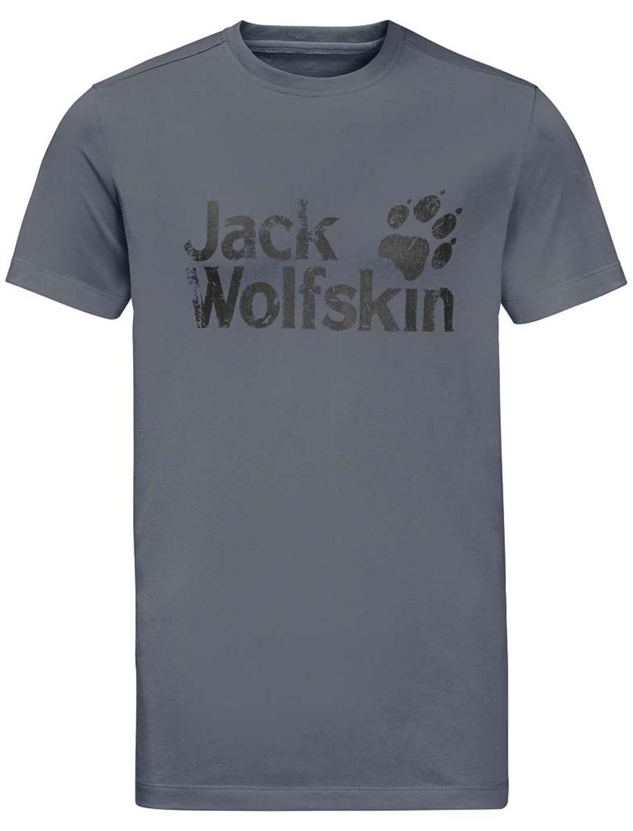 Футболка мужская Jack Wolfskin Brand T M, цвет: серый. 1805971-6505. Размер XL (52)1805971-6505Мужская футболка Jack Wolfskin Brand T изготовлена из органического хлопка и полиэстера. Ткань с меланжевым узором легкая и мягкая, быстро сохнет, приятная на ощупь и очень прочная. Модель прямого кроя с короткими рукавами оформлена принтованным логотипом бренда. Круглый вырез горловины дополнен мягкой трикотажной резинкой. В такой футболке вам будет комфортно весь день, она универсальна и подходит для повседневной жизни так же хорошо, как и для активного отдыха и занятий спортом.