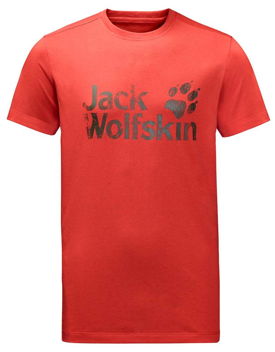 Футболка мужская Jack Wolfskin Brand T M, цвет: красный. 1805971-2001. Размер XXL (54)1805971-2001Мужская футболка Jack Wolfskin Brand T изготовлена из органического хлопка и полиэстера. Ткань с меланжевым узором легкая и мягкая, быстро сохнет, приятная на ощупь и очень прочная. Модель прямого кроя с короткими рукавами оформлена принтованным логотипом бренда. Круглый вырез горловины дополнен мягкой трикотажной резинкой. В такой футболке вам будет комфортно весь день, она универсальна и подходит для повседневной жизни так же хорошо, как и для активного отдыха и занятий спортом.