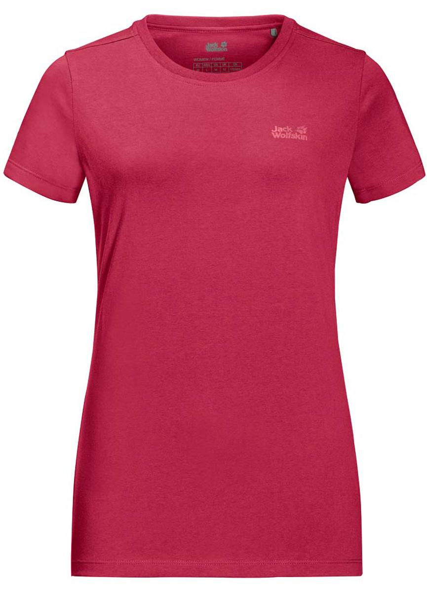 Футболка жен Jack Wolfskin Essential T W, цвет: темно-розовый. 1805791-2002. Размер XXL (56)1805791-2002