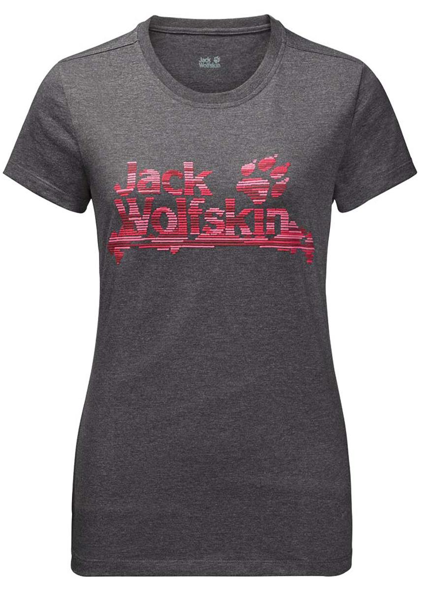 Футболка жен Jack Wolfskin Brand T W, цвет: темно-серый. 1805931-6350. Размер XXL (56)1805931-6350Футболка с органическим хлопком. Разделите нашу любовь к классической футболке BRAND T (БРЭНД ТИ). Как и полагается хорошей базовой вещи, она невероятно легкая, комфортная и очень быстро сохнет. Материал футболки представляет собой смесь хлопка и полиэстера. Благодаря этой ткани, она служит дольше, чем футболка из чистого хлопка и очень приятна на ощупь.