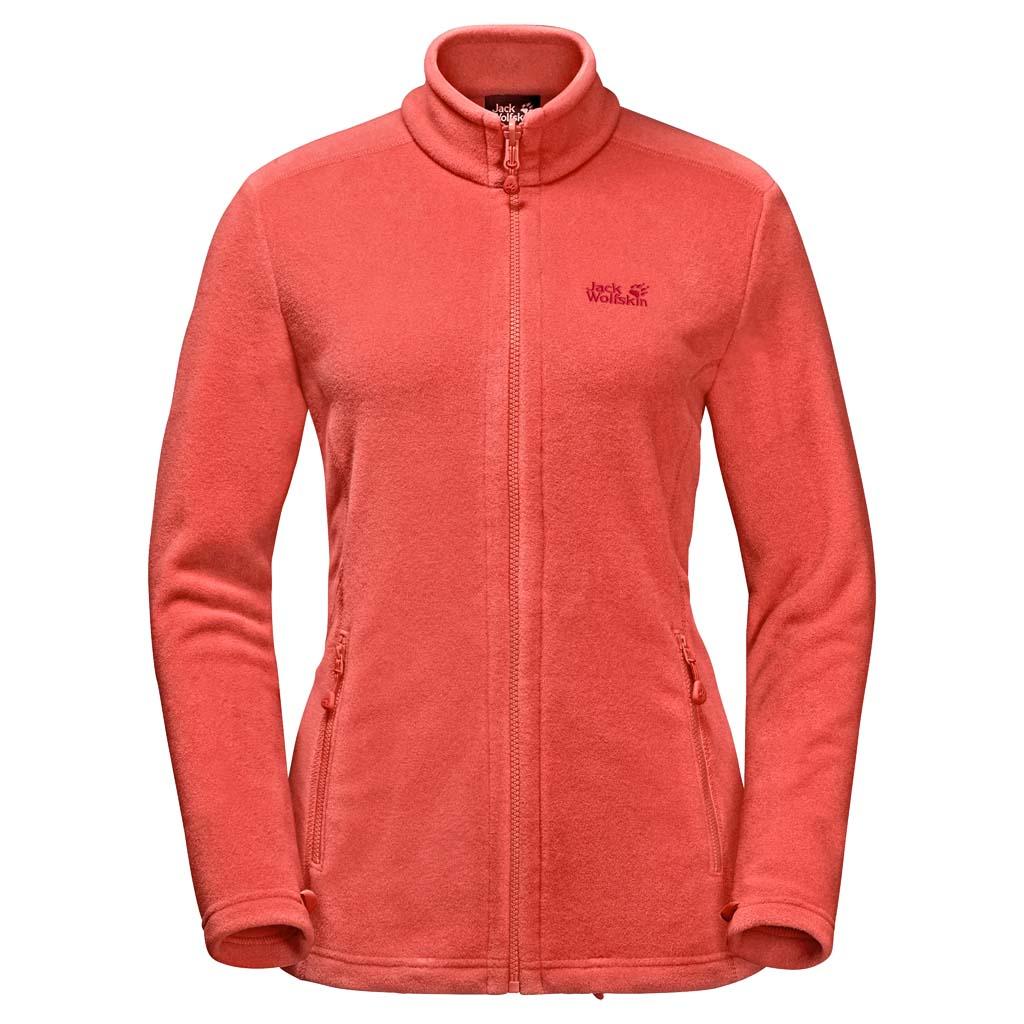 Толстовка женская Jack Wolfskin Moonrise Jacket W, цвет: оранжевый. 1703881-2043. Размер XXL (56)1703881-2043Флисовая куртка для хайкинга среднего уровня теплоизоляции с короткой системной молнией. Простая, теплая и практичная. Флисовая куртка MOONRISE (МУНРАЙЗ) - универсальная вещь.Короткая системная молния позволяет пристегнуть ее к внешней куртке совместимой модели. С такой комбинацией холодная и влажная погода вам больше не страшна.