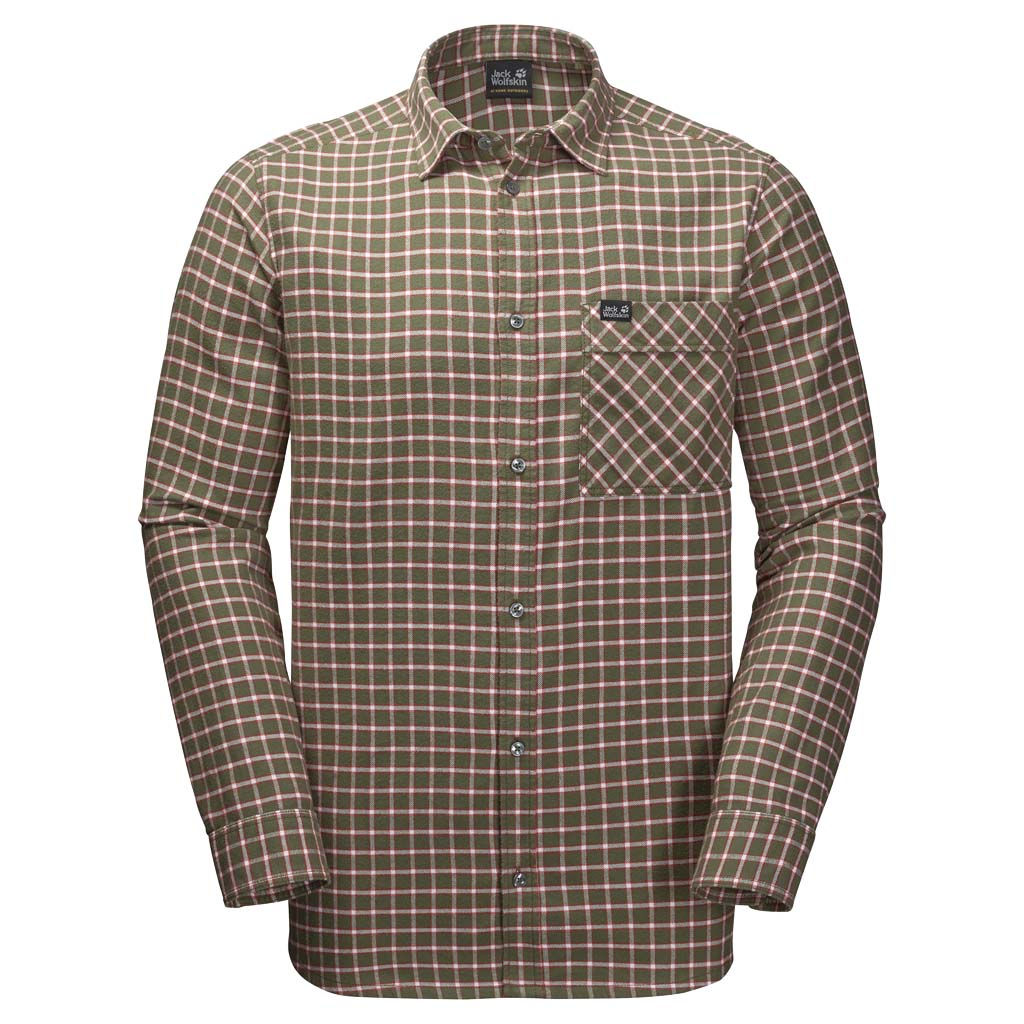Рубашка мужская Jack Wolfskin Fraser Island Shirt, цвет: хаки. 1402521-7825. Размер XXL (54)1402521-7825Клетчатая фланелевая рубашка Fraser Island сшита из натурального органического хлопка. Уютно устройтесь в ней у камина зимой или носите весной поверх футболки - вам решать. Модель прямого кроя с длинными рукавами с манжетами на пуговицах застегивается на пуговицы и дополнена нагрудным накладным карманом с клапаном. Полностью натуральная ткань невероятно комфортна при ношении и на ощупь.