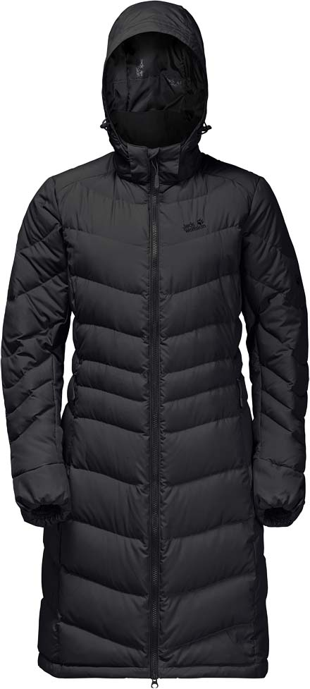 Пуховик жен Jack Wolfskin Selenium Coat, цвет: черный. 1202081-6000. Размер XL (52/54)1202081-6000Ветронепроницаемое, очень теплое пуховое пальто с отстегивающимся капюшоном. SELENIUM COAT (СИЛИНИУМ КОУТ) - это невероятно теплое и очень легкое пуховое пальто. Длина покроя пальто еще лучше защищает вас от непогоды. Утеплитель из высокоэффективного утиного пуха сохраняет вас в тепле от макушки до коленей. Ветронепроницаемый материал STORMLOCK (ШТОРМЛОК) защищает от ледяного ветра и способствует наилучшему сохранению тепла. Если пойдет дождь, просто наденьте капюшон. Эта ткань защитит вас также и от измороси. А если капюшон вам не нужен, вы можете просто отстегнуть его от пальто.