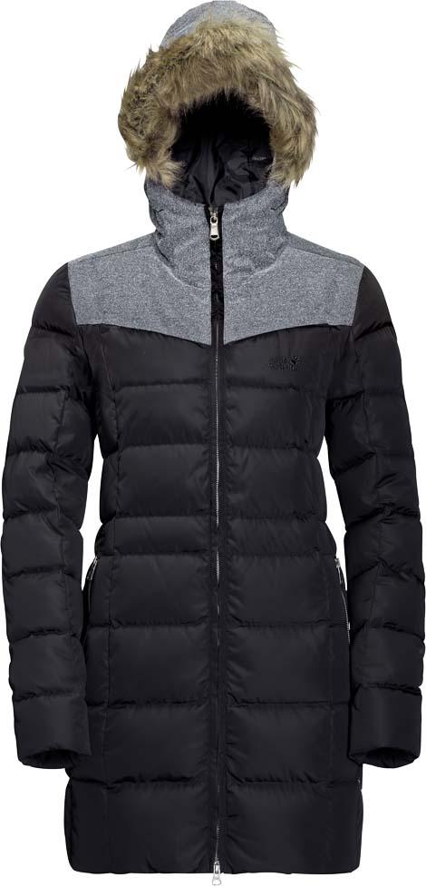 цена  Пуховик женский Jack Wolfskin Baffin Island Coat, цвет: черный. 1203331-6000. Размер XL (52/54)  онлайн в 2017 году