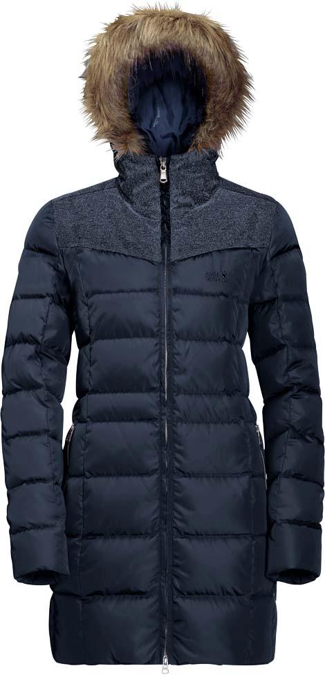 цена  Пуховик женский Jack Wolfskin Baffin Island Coat, цвет: темно-синий. 1203331-1910. Размер L (50)  онлайн в 2017 году