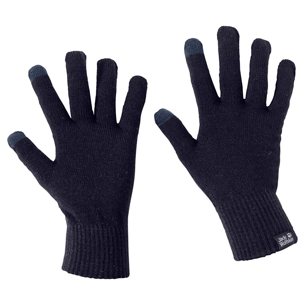 Перчатки Jack Wolfskin Touch Knit Glove, цвет: темно-синий. 1906391-1010. Размер универсальный1906391-1010Легкие перчатки для сенсорного экрана. Хотите по-быстрому снять горный пейзаж на телефон или проверить навигатор во время зимней прогулки? Если на ваших руках перчатки TOUCH KNIT (ТАЧ НИТ), вам точно не придется их снимать. Специальная ткань перчаток позволяет совершать все необходимые манипуляции с экраном вашего гаджета.Невероятно легкие, они успешно выполняют функцию базовой защиты от холода и могут служить как внутренний слой в паре с внешними перчатками.