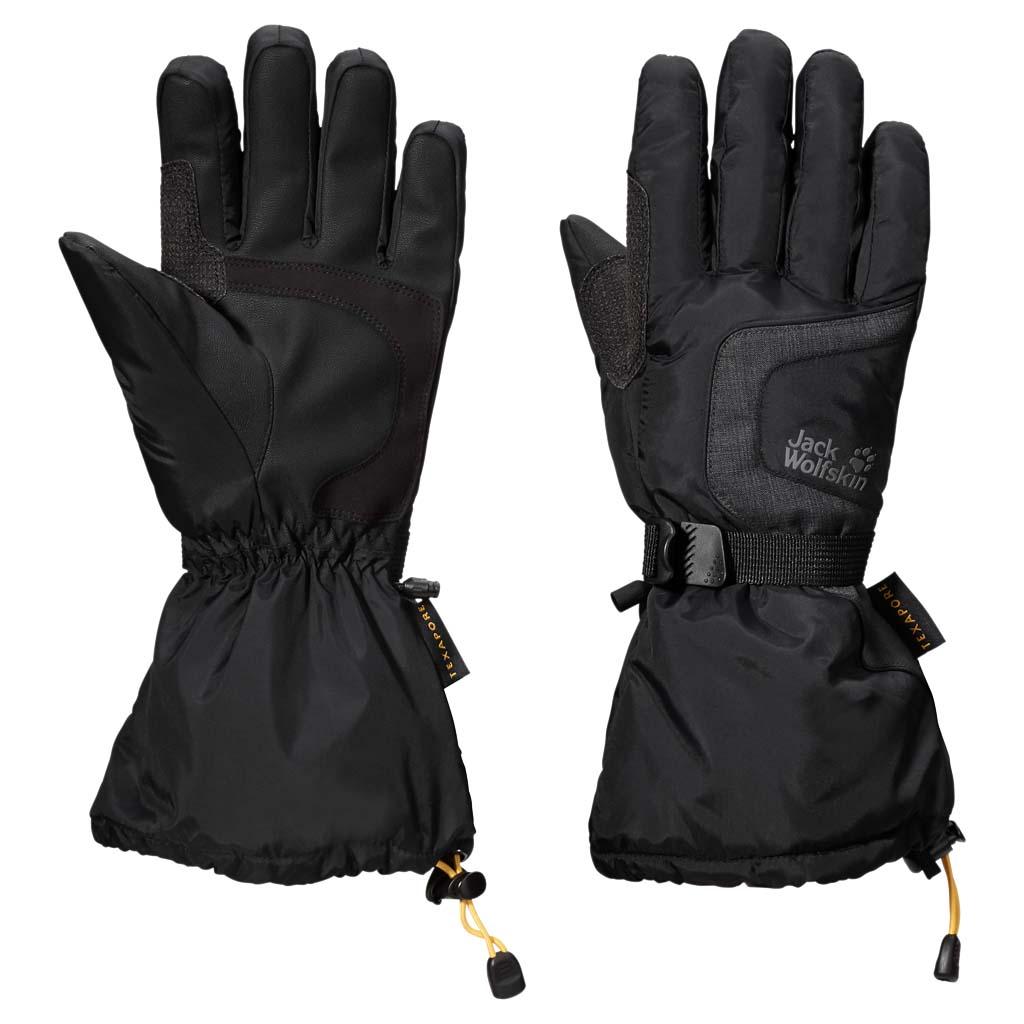 Перчатки Jack Wolfskin Texapore Winter Glove, цвет: черный. 1903121-6000. Размер M (21,5/23)1903121-6000Водонепроницаемые утепленные перчатки с теплой подкладкой и дополнительной защитой в области ладоней. Многофункциональные перчатки на осень и зиму. Наши перчатки TEXAPORE WINTER GLOVE (ТЕКСАПОР ВИНТЕР ГЛАВ) водонепроницаемые и дышащие, а заодно красивые и теплые. Можно выйти на улицу и делать все, что вы делаете обычно, а руки у вас останутся сухими. Какой бы ни был дождь или снег, даже если вы вспотели.Синтетический утеплитель будет согревать ваши руки весь день и не утратит своих теплозащитных свойств, даже если промокнет. Ладони дополнительно упрочнены, поскольку именно здесь ткань перчаток изнашивается быстрее всего.