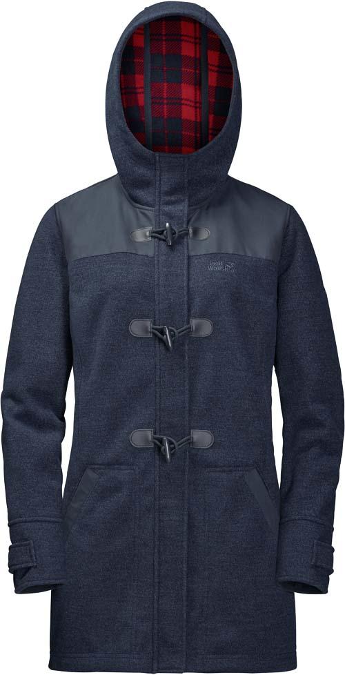 Парка жен Jack Wolfskin Edmonton Coat W, цвет: темно-синий. 1705791-1010. Размер M (48)1705791-1010Ветронепроницаемое дышащее пальто дафлкот из похожего на шерсть флиса с экстрамягкой изнаночной стороной. Пальто дафлкот EDMONTON (ЭДМОНТОН) не даст вам замерзнуть в осенние холода. Оно сшито из похожего на шерсть флисового материала STORMLOCK (ШТОРМЛОК) с добавлением усиливающих вставок в области плеч для повышения износоустойчивости. Отдавая дань традиционному стилю пальто дафлкот, мы снабдили EDMONTON (ЭДМОНТОН) классическими пуговицами моржовый клык и клетчатой подкладкой. Просто погрузите руки в глубокие теплые карманы и наслаждайтесь ветреной погодой!