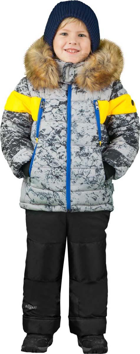 Комплект для мальчика Boom!: куртка, брюки, цвет: серый, черный. 70488_BOB_вар.1. Размер 110, 5-6 лет70488_BOB_вар.1Теплый комплект для мальчика Boom! идеально подойдет вашему сыну в холодное время года. Комплект состоит из куртки и брюк, изготовленных из водонепроницаемого и ветрозащитного материала с утеплителем из синтепона. Куртка на мягкой флисовой подкладке застегивается на пластиковую застежку-молнию. Курточка дополнена несъемным капюшоном с опушкой из искусственного меха. Низ рукавов дополнен внутренними трикотажными манжетами, которые мягко обхватывают запястья.Брюки застегиваются на застежку-молнию.Комфортный, удобный и практичный комплект идеально подойдет для прогулок и игр на свежем воздухе!