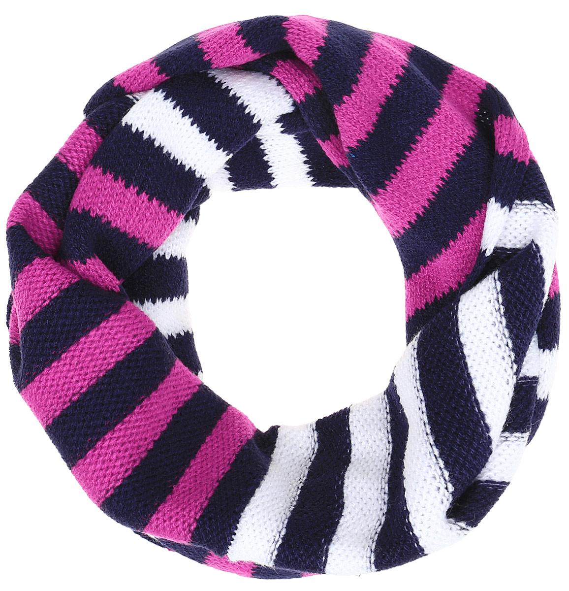 Шарф для девочки PlayToday, цвет: темно-синий, белый, розовый. 372180. Размер 130 х 15 см372180