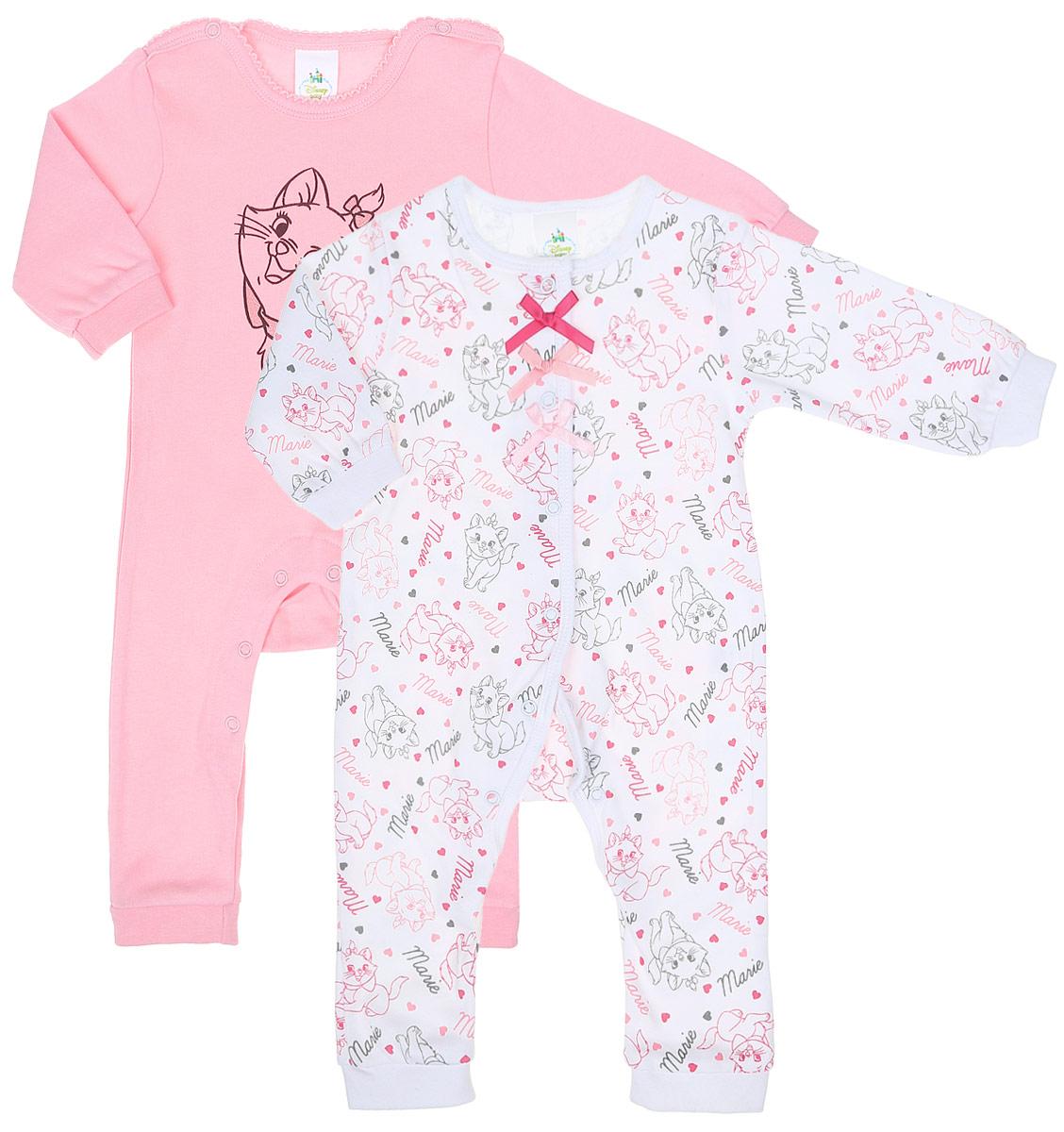 Комбинезон домашний для девочки PlayToday Baby, цвет: розовый, белый, серый меланж, 2 шт. 678806. Размер 56678806Комплект комбинезонов PlayToday Baby разнообразит гардероб вашей малышки. Комбинезоны с открытыми ножками изготовлены из натурального хлопка и оформлены милым принтом. Материал изделия мягкий и тактильно приятный, не раздражает нежную кожу ребенка и хорошо пропускает воздух. Модели имеют удобные застежки-кнопки что позволит легко переодеть ребенка или сменить подгузник, а также удобные манжеты на рукавах и снизу брючин. Круглый вырез горловины дополнен мягкой эластичной бейкой. Комбинезоны полностью соответствуют особенностям жизни ребенка в ранний период, не стесняя и не ограничивая его в движениях.