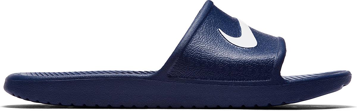 Шлепанцы мужские Nike Kawa Shower, цвет: темно-синий. 832528-400. Размер 7 (39)832528-400Мужские шлепанцы Kawa Shower от Nike полностью выполнены из материала ЭВА. Рельефная поверхность верхней части подошвы обеспечивает комфорт при движении. Основание подошвы дополнено рифлением. Подошва оформлена перфорацией.