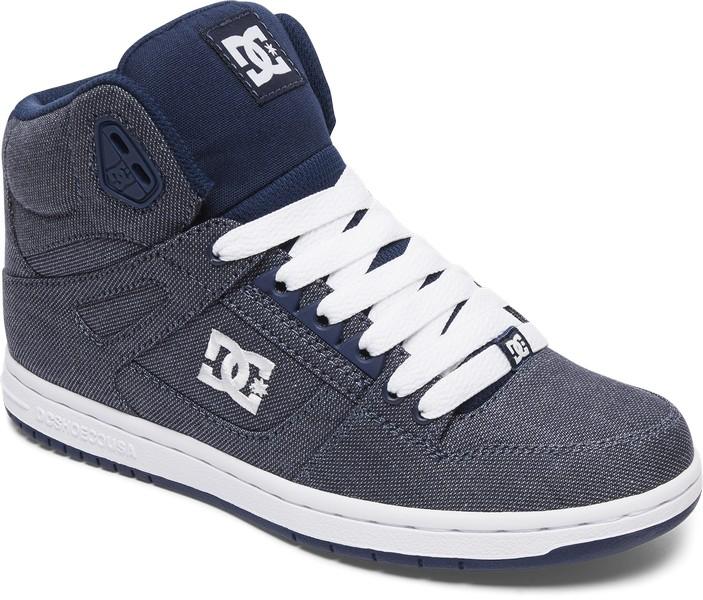 Кеды женские DC Shoes Rebound High TX, цвет: серо-синий ADJS100065-CHY. Размер 8,5B (40)ADJS100065-CHYКлассические высокие женские кеды Rebound High Tx от DC Shoes обеспечивают максимальный комфорт и поддержку благодаря вспененному манжету и язычку, а также конструкции ботинка Cupsole. Пластиковые верхние люверсы для дополнительной шнуровки и плоские шнурки надежно фиксируют модель на ноге. Сетчатая дышащая подкладка обеспечивает комфорт во время движения. Гибкая резиновая подошва дополнена фирменным цепким протектор Pill Pattern.Модель оформлена нашивкой с фирменным логотипом на язычке, а также вышитым сбоку фирменным логотипом бренда.Выигрышное сочетание премиум текстиля обеспечит не только долговечность и надежность конструкции, но и отличный внешний вид, добавляющий стиля городскому луку.