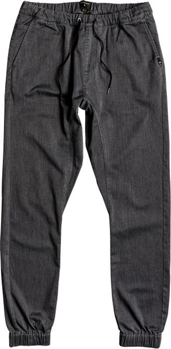 Брюки мужские Quiksilver, цвет: темно-серый. EQYNP03107-KTFH. Размер XL (52)EQYNP03107-KTFHМужские брюки Quiksilver выполнены из эластичного хлопка. Изделие прошло ферментную обработку для придания ему мягкости. Брюки-джоггеры узкого кроя имеют два втачных кармана спереди. Сзади расположены два прорезных кармана на пуговицах. Эластичный пояс с утягивающим шнурком позволяет отрегулировать посадку точно по фигуре. Брючины дополнены эластичными манжетами.