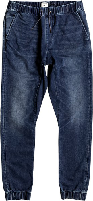 Джинсы мужские Quiksilver, цвет: темно-синий. EQYDP03337-BYJW. Размер L (50)EQYDP03337-BYJWМужские джинсы Quiksilver выполнены из мягкого денима. Джинсы-джоггеры узкого кроя имеют два втачных кармана спереди. Сзади расположены два прорезных кармана на пуговицах. Эластичный пояс с утягивающим шнурком позволяет отрегулировать посадку точно по фигуре. Брючины дополнены эластичными манжетами.