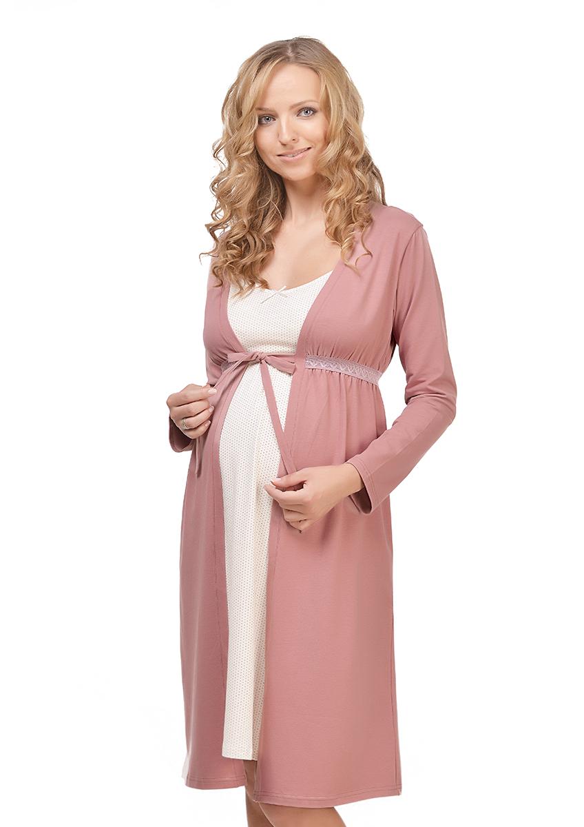 Халат для беременных и кормящих Мамин Дом Mellow Rose, цвет: пепельно-розовый. 25303. Размер 4825303Удобный халат для беременных и кормящих мам Мамин Дом, изготовленный из натурального хлопка с добавлением эластана - это настоящее воплощение комфорта.Халат свободного кроя с запахом и удобными длинными рукавами оформлен эластичной кружевной вставкой на талии. Модель прекрасно садится на любом сроке беременности. Вшитый пояс на талии и особенности кроя позволяют носить халат как во время беременности, так и во время грудного вскармливания. Такой халат сделает отдых будущей мамы комфортным. Он сочетается с рубашками для кормления арт. 24129 Milky Way и арт. 25205 Praline, с пижамой арт. 24131 Koritsa. Одежда, изготовленная из хлопка, приятна к телу, сохраняет тепло в холодное время года и дарит прохладу в теплое, позволяет коже дышать.