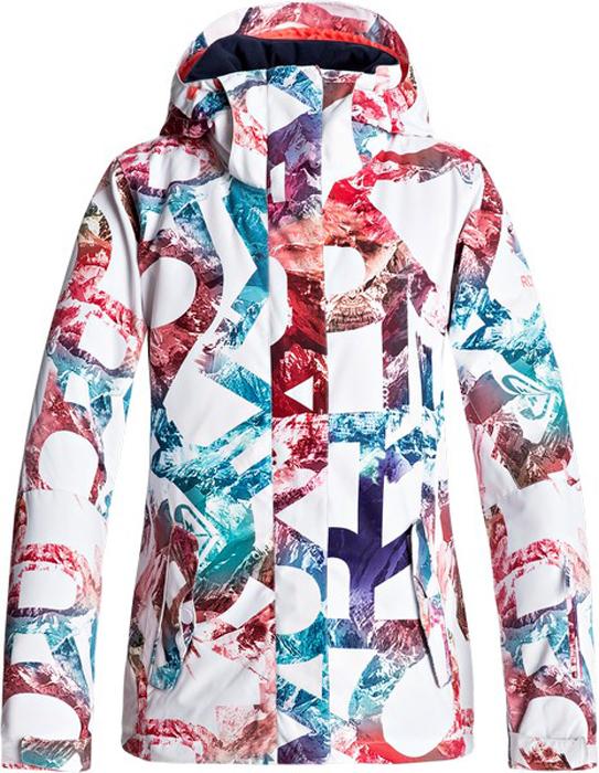 Куртка женская Roxy, цвет: белый. ERJTJ03125-WBB7. Размер M (44)ERJTJ03125-WBB7Куртка женская Roxy выполнена из полиэстера. Модель с длинными рукавами и капюшоном оформлена оригинальным принтом.