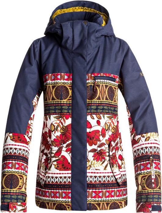 Куртка жен Roxy, цвет: темно-синий, золотистый, светло-коричневый. ERJTJ03144-RZB6. Размер L (46)ERJTJ03144-RZB6