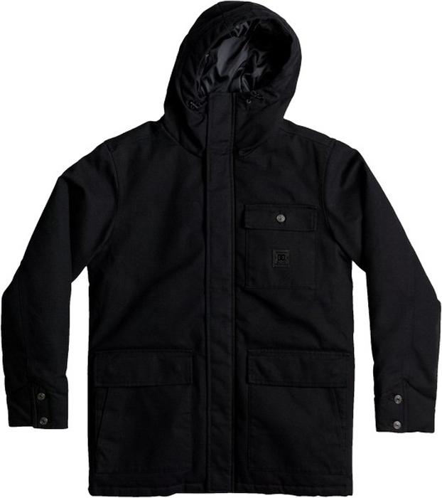 Куртка мужская DC Shoes Canongate, цвет: черный. EDYJK03135-KVJ0. Размер M (48)EDYJK03135-KVJ0Мужская куртка-парка от DC Shoes выполнена из хлопчатобумажной парусины, подкладка - из синтетической тафты. Куртка имеет стеганый дизайн с плотной набивкой. Модель с капюшоном на кулиске застегивается на молнию и имеет ветрозащитную планку на кнопках. Куртка дополнена боковыми карманами с двойным доступом и накладным нагрудным карманом на пуговице со стойкой.