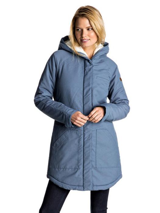 Пальто женское Roxy, цвет: серо-голубой. ERJJK03196-BND0. Размер S (42)ERJJK03196-BND0Пальто женское Roxy выполнено из хлопка с добавлением нейлона. Модель с длинными рукавами и капюшоном дополнена накладными карманами спереди.