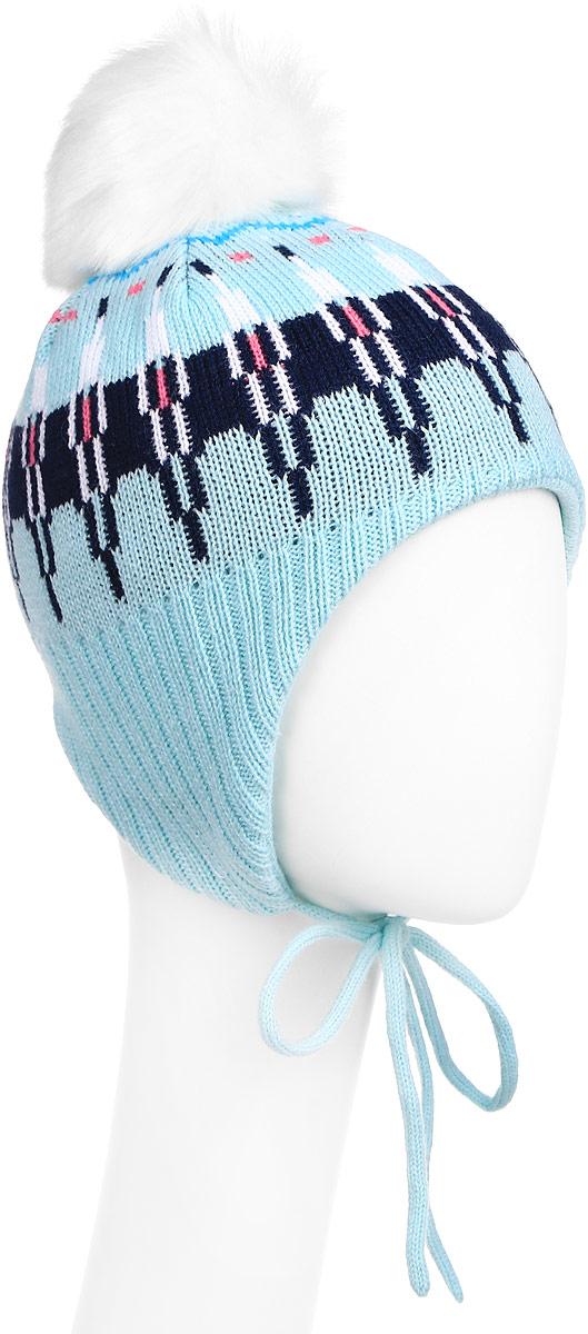 Шапка для девочки PlayToday, цвет: голубой, белый, синий. 372136. Размер 50372136Двухслойная шапка для девочки PlayToday подойдет для прогулок в прохладную погоду. Шапка выполнена из мягкого трикотажа средней вязки и оформлена помпоном из искусственного меха. Верхняя часть шапки выполнена по технологии Yarn Dyed - в процессе производства изделия используются разного цвета нити. Модель плотно прилегает к голове, а удлиненные боковые части с завязками предохраняют уши ребенка от сильного ветра.Уважаемые клиенты!Размер, доступный для заказа, является обхватом головы.