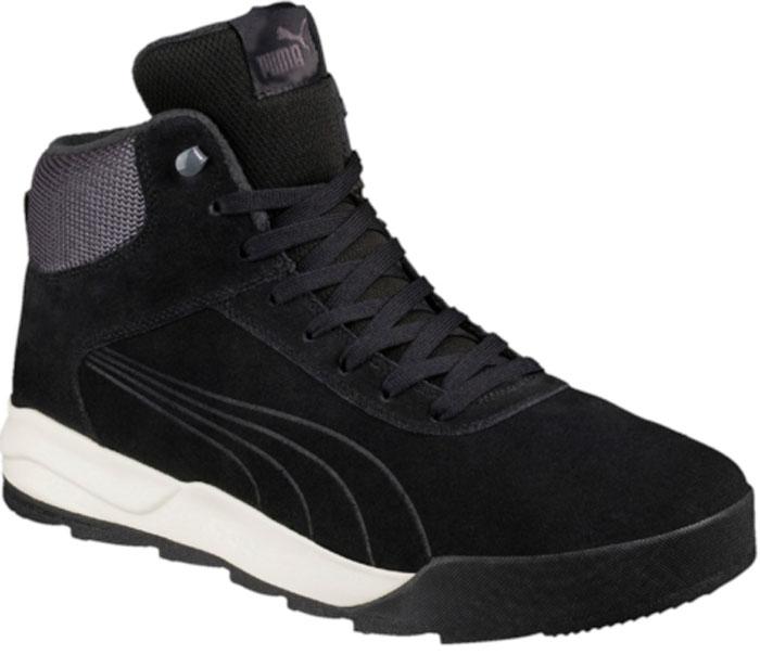 Ботинки мужские Puma Desierto Sneaker, цвет: черный. 36122004. Размер 8 (41)36122004Новая модель Desierto Sneaker - это комфорт мягких кроссовок в сочетании с прочностью и надежностью зимних ботинок. Она выполнена из замши и снабжена упругой и эластичной промежуточной подошвой из вспененного этиленвинилацетата. Мощная ребристая внешняя подошва обеспечивает отличное сцепление с поверхностью. Среди других зимних элементов следует отметить обтачку голенища плотной тканью, стильную систему шнуровки, характерную для туристских ботинок, а также мягкую, теплую и уютную подкладку. Ботинки оформлены эмблемой Puma Formstrip с обеих сторон, а также фирменным логотипом Puma - на язычке. Desierto Sneaker - лучший выбор для тех, кому нужна функциональная и долговечная обувь на зимний период, которая выглядела бы стильно и современно!
