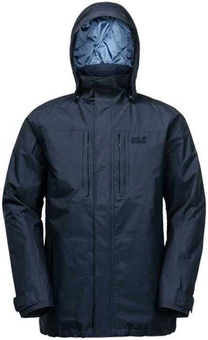 Куртка муж Jack Wolfskin Westpoint Island, цвет: темно-синий. 1107702-1010. Размер L (48/50)1107702-1010Водонепроницаемая, ветроустойчивая куртка с утеплителем и отстегивающимся капюшоном. Ясное, солнечное, свежее зимнее утро, или дождливый и прохладный осенний день – вы сможете наслаждаться прогулками на свежем воздухе вне зависимости от погоды. Именно для этого и создана куртка WESTPOINT ISLAND (ВЕСТПОЙНТ АЙЛЕНД). Потому что эта куртка надежно защитит вас от дождя, снега и холода.Наружный материал куртки TEXAPORE (ТЕКСАПОР) не пропускает дождь и снег. Безусловно, этот материал также пропускает и воздух. Для того, чтобы дольше сохранять тепло, куртка WESTPOINT (ВЕСТПОЙНТ) содержит утеплитель POLYFIBER (ПОЛИФАЙБЕР). Это надежный, легкий утеплитель, абсолютно нечувствительный к влаге. Идеальное сочетание для активного отдыха на открытом воздухе зимой.