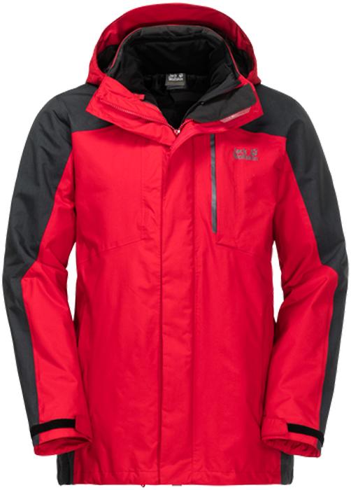 Куртка мужская Jack Wolfskin Viking Sky M, цвет: красный, черный. 1107992-2505. Размер M (44/46)1107992-2505Прочная куртка для хайкинга 3 в 1 Jack Wolfskin Viking Sky состоит из двух курток, состегивающихся между собой. Стеганая внутренняя куртка прямого кроя с воротником-стойкой, надежно защищающим от ветра, застегивается на молнию с внутренней ветрозащитной планкой и дополнена двумя прорезными карманами на молнии. Куртка изготовлена из легкого, ветро- и водостойкого материала Stormlock Softtouch, в качестве наполнителя использован эффективный синтетический утеплитель Microguard (100 г/м2).Внешняя куртка с глубоким съемным капюшоном с возможностью регулировать внутренний объем и область обзора застегивается на молнию с ветрозащитной планкой на липучках и дополнена двумя карманами на бедрах, нагрудным и потайным карманами. Манжеты рукавов имеют хлястики на липучках, позволяющие регулировать объем. Куртка изготовлена из комбинированного материала Texapore, это прочная, похожая на хлопок, водонепроницаемая и дышащая ткань (водостойкость в мм водяного столба: 10 000 мм, паропроницаемость (MVTR): > 6000 г/м2/24 ч). Если ваши зимние прогулки имеют свойство превращаться в поход, значит, куртка Viking Sky непременно займет достойное место в вашем гардеробе. Невероятно теплый комплект 3 в 1 создан специально для активных занятий спортом на свежем воздухе. Он состоит из внешней куртки из водо- и ветронепроницаемого материала Texapore и теплой внутренней куртки, тоже защищающей от ветра. Куртки состегиваются друг с другом с помощью системной молнии. Очень прочная внешняя куртка защищает вас от дождя, снега и ветра. Плюс ко всему, она настолько дышащая, что вы будете чувствовать только комфорт - вне зависимости от уровня нагрузки. В хорошую погоду, просто отстегните и положите верхнюю куртку в рюкзак и продолжайте путь в нижней, более легкой и удобной, но при этом достаточно теплой и ветронепроницаемой. Обе куртки можно носить по отдельности - когда нужна только защита от дожд