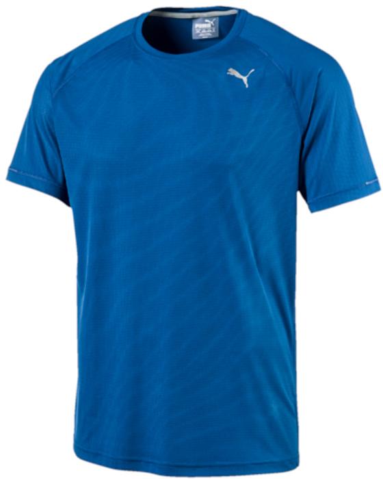 Футболка мужская Puma Core-Run S/S Tee, цвет: голубой. 51500812. Размер XL (50/52)51500812Футболка изготовлена с использованием высокофункциональной технологии dryCELL, которая отводит влагу, поддерживает тело сухим и гарантирует комфорт во время активных тренировок и занятий спортом. Легкий «супердышащий» материал изделия прекрасно держит форму и обеспечивает полный комфорт. Логотип и другие декоративные элементы, в том числе, петлица сзади на горловине, выполнены из светоотражающего материала и позаботятся о вашей безопасности в темное время суток. Также ворот отделан клеящейся тесьмой. Плоские швы не натирают кожу и обеспечивают непревзойденный комфорт.
