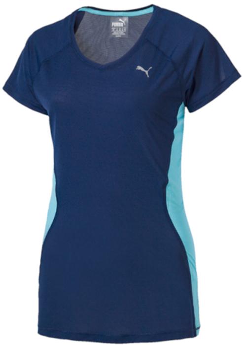 Футболка женская Puma Core-Run S/S Tee W, цвет: синий. 51503310. Размер M (44/46)51503310
