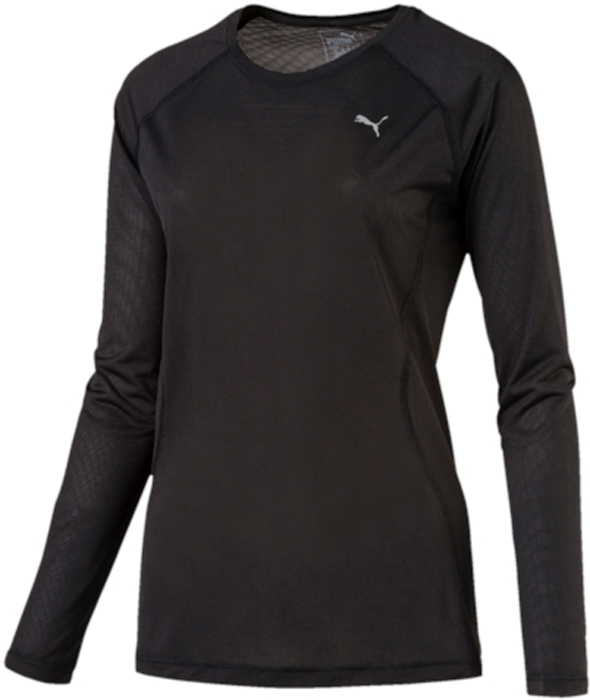 Футболка женская Puma Core-Run L S Tee W, цвет: черный. 51503501. Размер XS (40/42)51503501