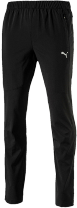 Брюки спортивные мужские Puma Tapered Woven Pant, цвет: черный. 51555801. Размер L (48/50)51555801Модель изготовлена с использованием высокофункциональной технологии DryCell, которая отводит влагу, поддерживает тело сухим и гарантирует комфорт во время активных тренировок и занятий спортом. Ткань изделия обработана уникальной органической пропиткой Cleansport NXT, гарантирующей только приятные запахи. Вставки из сетчатого материала препятствуют перегреву. Сочетание свободного кроя по верху изделия и зауженных штанин формирует элегантный силуэт, а застежки-молнии на шлицах по низу штанин позволяют легко снимать и надевать эти брюки. Два кармана спереди и карман на молнии сзади обеспечат сохранность ваших вещей, т.к. они снабжены водонепроницаемой подкладкой. Логотип и другие декоративные элементы из светоотражающего материала позаботятся о вашей безопасности в темное время суток. Пояс из эластичного материала с кулиской и затягивающимся шнуром обеспечивает отличную посадку по фигуре.