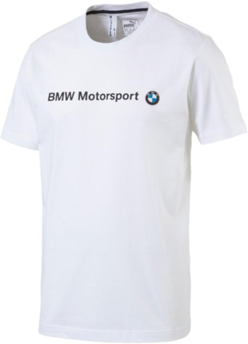 Футболка мужская Puma BMW MSP Logo Tee, цвет: белый. 57277202. Размер M (46/48)57277202Футболка BMW MSP Logo Tee декорирована надписью BMW Motorsport, нанесенным методом печати высокой плотности. Также имеется эмблема BMW из ткани. Ворот с изнанки сзади отделан двухцветной тесьмой цветов BMW. Футболка лаконична и проста в своем дизайне и подойдет для любой ситуации, включая спортивные тренировки. Мягкая хлопковая ткань приятна к телу и позволяет коже свободно дышать, что очень важно в процессе интенсивных упражнений.