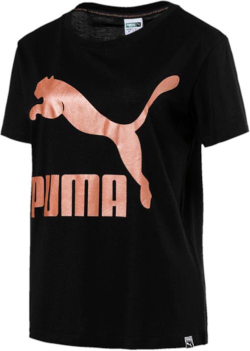 Футболка женская Puma Archive Logo Tee, цвет: черный. 57290561. Размер M (44/46)57290561Футболка декорирована набивным логотипом PUMA, а также сплошным графическим набивным рисунком по всей поверхности [в цветовом варианте 51], графическим блестящим рисунком, нанесенным фольгированием [в цветовом варианте 21], набивным рисунком c прорезиненными деталями [в цветовых вариантах 01,03,21,04,56,22,29,16,36], комбинированным рельефным рисунком с прорезиненными деталями [в цветовом варианте 03], графическим рисунком, нанесенным фольгированием [в цветовых вариантах 61,14]. Изделие имеет удобную стандартную посадку.
