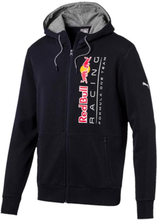 Толстовка мужская Puma RBR Hooded Sweat Jacket, цвет: темно-синий. 57343801. Размер L (48/50)57343801Эта фирменная толстовка с капюшоном RBR Hooded Sweat Jacket предназначена для настоящих энтузиастов автоспорта и фанатов гоночной команды Ред Булл. Она декорирована логотипом RBR на груди, нанесенным методом термопечати, и набивным логотипом Puma. Боковые карманы на молнии обеспечат надежное хранение ваших вещей. Также символика RBR представлена в цветах затягивающихся шнуров, благодаря которым модель можно подогнать по фигуре. Цельнокроеная подкладка капюшона контрастного цвета выполнена из мягкого и уютного трикотажа. Спереди имеется застежка-молния со стопором.