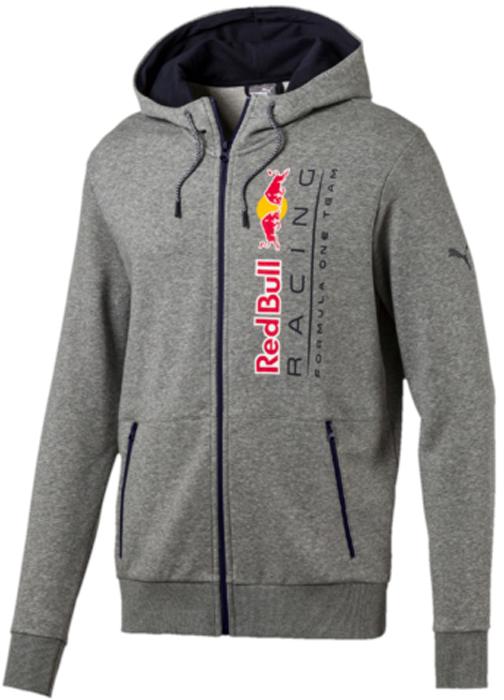 Толстовка мужская Puma RBR Hooded Sweat Jacket, цвет: серый. 57343802. Размер M (46/48)57343802Эта фирменная толстовка с капюшоном RBR Hooded Sweat Jacket предназначена для настоящих энтузиастов автоспорта и фанатов гоночной команды Ред Булл. Она декорирована логотипом RBR на груди, нанесенным методом термопечати, и набивным логотипом Puma. Боковые карманы на молнии обеспечат надежное хранение ваших вещей. Также символика RBR представлена в цветах затягивающихся шнуров, благодаря которым модель можно подогнать по фигуре. Цельнокроеная подкладка капюшона контрастного цвета выполнена из мягкого и уютного трикотажа. Спереди имеется застежка-молния со стопором.