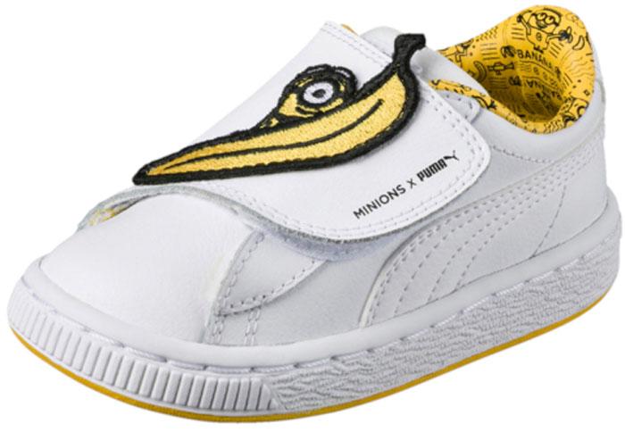 Кеды детские Puma Minions Basket WrapSt LPS, цвет: белый. 36408101. Размер 2,5 (34)36408101Модные кеды Minions Basket WrapSt LPS от Puma займут достойное место среди коллекции обуви вашего ребенка. Модель выполнена из натуральной кожи. Кожаная стелька позволяет ногам дышать. Подошва оснащена рифлением для лучшего сцепления с поверхностью. СимволикаМиньонов в форме крупной застёжки-липучки с вышитым изображением банана и миньона Стюарта, яркая желтая подошва - всё это, как и отличные функциональные характеристики новых кроссовок, позволят наслаждаться миром любимых персонажей с комфортом.