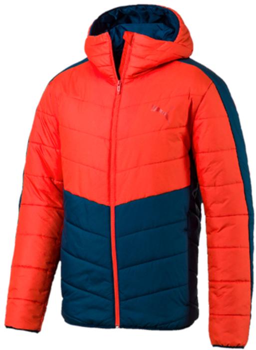 Куртка мужская Puma ESS warmCELL Padded Jacket, цвет: красный, синий. 59236918. Размер L (48/50)59236918Модель декорирована логотипом и другой фирменной символикой Puma, нанесенными методом пигментной печати, Она изготовлена с использованием высокофункциональной технологии WarmCell, которая благодаря «дышащим» свойствам материала удерживает тепло и сохраняет оптимальную температуру вашего тела даже в холодную погоду. Благодаря особой конструкции капюшон может складываться и дополнять высокий, надежно защищающий подбородок и шею от холода воротник. Капюшон, манжеты и подол снабжены эластичными завязками. Классический покрой от Puma рукавов и плеча обеспечивает удобство сгибания и разгибания руки в локте и полную свободу движений. Боковые швы с нахлестом вперед обеспечивают дополнительное удобство. Боковые карманы на молнии функциональны и вместительны. Капюшон, манжеты и подол снабжены эластичными завязками. Имеется петля для вешалки. Изделие имеет удобную стандартную посадку.