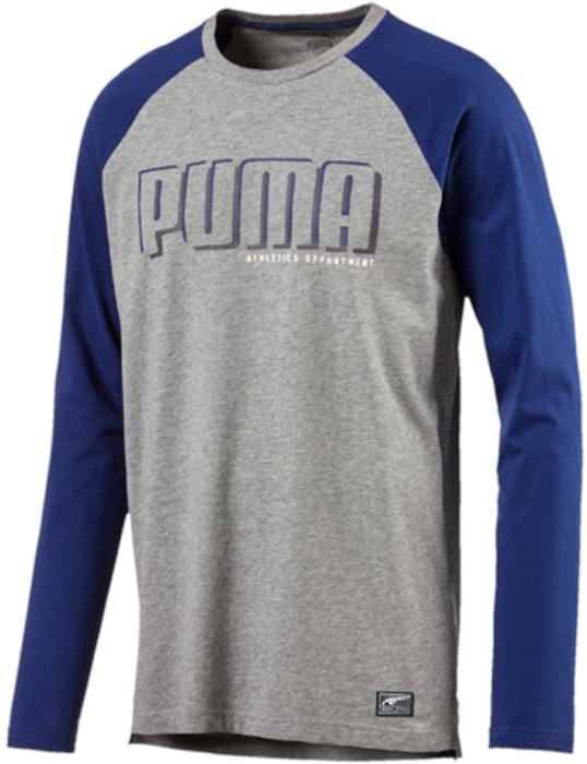 Лонгслив мужской Puma STYLE Athletics LS RaglanTee, цвет: серый. 59247903. Размер XL (50/52)59247903Модель декорирована графическим набивным рисунком, нанесенным методом печати высокой плотности спереди. Модель декорирована логотипом Puma, нанесенным методом пигментной печати на спину, и ярлыком с классическим логотипом Puma, нашитым на подол. Удобный вырез под горло отделан эластичным трикотажем в рубчик и дополняет оригинальный фасон, совершенно не стесняющий движений. Удлиненный задний подол надежно защищает поясницу. Изделие имеет комфортную стандартную посадку.