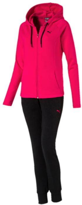 Спортивный костюм женский Puma Classic Sweat Suit cl, цвет: малиновый, черный. 59250228. Размер S (42/44)59250228Спортивный костюм от Puma состоит из толстовки и брюк.Толстовка декорирована вышитым логотипом Puma. Объем и форма капюшона регулируются затягивающимся шнуром. Карманы в боковых швах удобны и вместительны. Изделие имеет удобную стандартную посадку.Брюки декорированы вышитым логотипом Puma. Карманы в боковых швах удобны и вместительны. Пояс посажен на подкладку из эластичного материала. Манжеты по низу штанин отделаны трикотажем в резинку. Штанины заужены.
